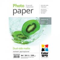 ColorWay Matte Dual-Side Photo Paper, 20 sheets, A4, 220 g/m