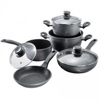 Stoneline 1 sauce pan, 1 stewing pan, 1 frying pan, die-cast aluminium, black,
