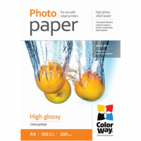 ColorWay High Glossy Photo Paper, 100 sheets, A4, 200 g/m