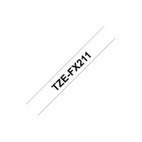 Brother TZe-FX211 Flexible ID Laminated Tape Black on White, TZe, 0.6 cm, 8 m