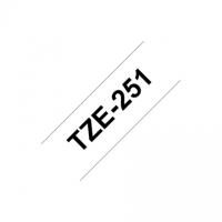 Brother TZ-251 Laminated Tape Black on White, TZe, 8 m, 2.4 cm