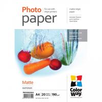 ColorWay Matte Photo Paper, 20 Sheets, A4, 190 g/m