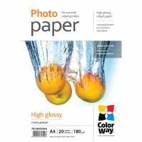 ColorWay Photo Paper 20 pcs. PG180020A4 Glossy, White, A4, 180 g/m