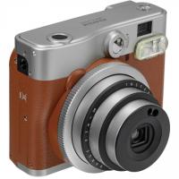 Fujifilm Instax Mini 90 NEO CLASSIC camera + Instax mini glossy (10) Brown/Stainless steel, 0.3m -