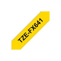 Brother TZ-FX641 Flexible ID Laminated Tape Black on Yellow, TZe, 8 m, 1.8 cm